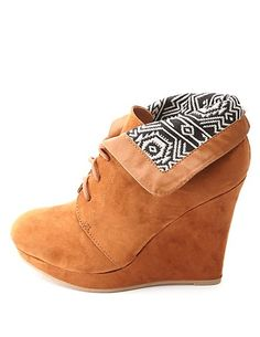 Tribal-Lined Cuffed Lace-Up Wedge Booties: Charlotte Russe