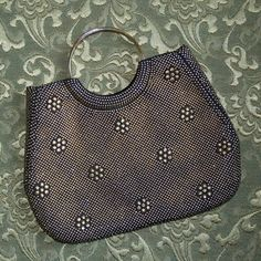 Vintage Black & Gold Brass Beaded Studded Purse Evening Bag