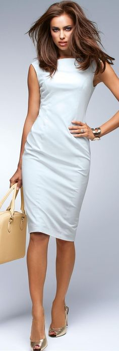 sheath dress- narrow form fitted dress, usually around knee length
