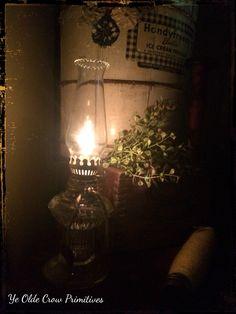 Adorable little vintage oil lamp by ye olde Crow primitives
