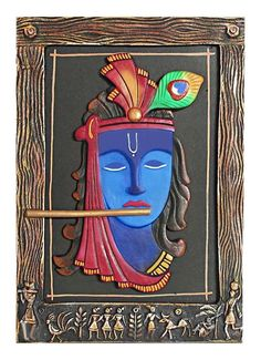 Murlidhar Krishna - (Wall Hanging) - Applique Cloth Craft (Applique Work on Cotton Cloth) Clay Wall Art, Mural Wall Art, Mural Painting, Murals, Krishna Painting, Krishna Art, Buddha Painting, Radhe Krishna, Clay Art Projects
