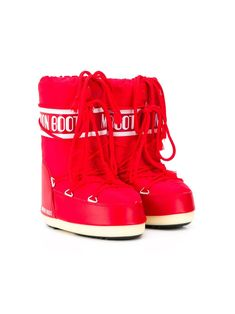 Moon Boot Kids lace-up logo moon boots - Red