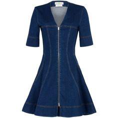 Designer Clothes, Shoes & Bags for Women Short Sleeve Denim Dress, Blue Denim Dress, Jeans Dress, Jeans Denim, Denim Flares, Robe Diy, Stella Mccartney Dresses, Mode Jeans, Fit N Flare Dress