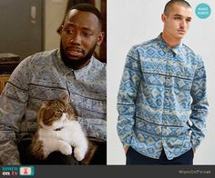 Winston's blue and grey printed shirt on New Girl.  Outfit Details: https://wornontv.net/66877/ #NewGirl