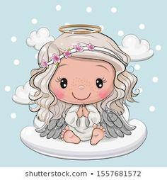 Cartoon Christmas angel is sitting on a cloud. Cute Cartoon Christmas angel is sitting on a cloud stock illustration Clipart Baby, Angel Clipart, Angel Cartoon, Diy Xmas, Disney Cartoon Characters, Angel Drawing, Cloud Vector, Angel Art, Typography Prints