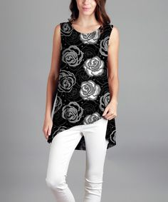 This Black & White Floral Hi-Low Tunic - Plus is perfect! #zulilyfinds