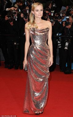 yummie yummie dresses  Disco diva: German actress Diane Kruger put everyone else in Cannes to shame with her glittery, silver-and-gold sequined Vivienne Westwood Couture gown at today's Amour premiere