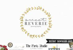 DIY Instant Download Logo Template Gold Foil Leaf Logo for e-commerce website logo, wordpress blog logo, boutique logo, photography branding, wedding logo, website branding design.