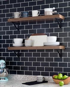 Timeless subway tile gets a modern update in a black matte finish. In episode 4 of The Weekender, Monica gives an outdated kitchen a current look with matte black details and charming open shelving in place of cabinets. You won't believe the reveal! Black Subway Tiles, Subway Tile Kitchen, Kitchen Black Tiles, Black Backsplash, Kitchen Backsplash, Backsplash Ideas, Kitchen Island, Home Decor Kitchen, Diy Kitchen