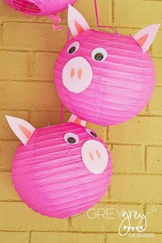 Decorations | GreyGrey Designs: {My Parties} Avery's Three Little Pigs Party | Decorate with Paper Lantern Pigs!