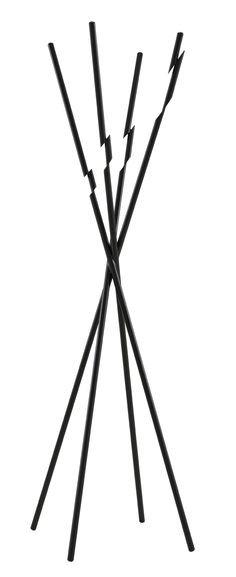 'Modified'  coat stand Black lacquered steel coat rack with an intriguing twisted/jagged stepped effect by Taewoo Kim. Dims: H 174 x Diam 62 cm