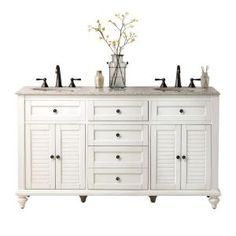 $1099 Home Decorators Collection Hamilton 61 in. W x 22 in. D Double Vanity in Antique White with Beige Granite Top-0567200410 at The Home Depot