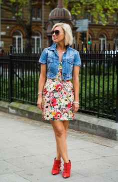 Get more use out of a strapless floral dress by pairing it with a denim jacket or vest and booties for day