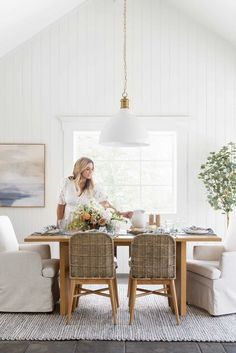 Stunning pieces available in the new Studio McGee line with Threshold for Target. This affordable line is filled to the brim with stylish furniture, accessories and more! Studio Mcgee, Dining Chairs, Dining Table, Dining Rooms, Dining Area, Couch Design, Striped Table Runner, Round Coffee Table, Decoration