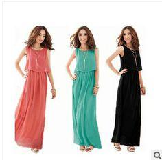 CHEAPEST!!!2014 spring summer women's clothing chiffon dress plus size long bohemian sleeveless casual party dress free shipping