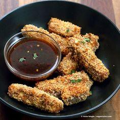 Crispy Tofu with Sweet Chili Sauce (lite firm tofu, hot chili sauce, breadcrumbs)