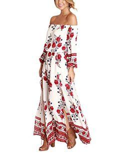 YesFashion Women Off Shoulder Bohemia Floral Print Split ... Kleider,  Arbeitskleider, Partykleider 0a0691d994
