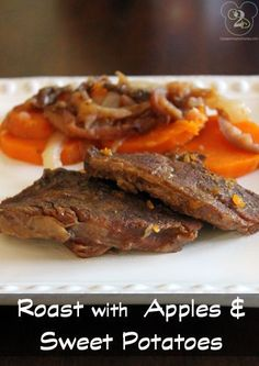 Got the hubby and one kid to eat Sweet Potatoes! - This was pretty good, but I wouldn't recommend cutting the roast, as the recipe suggests. The larger chunks were much more tender and juicy. Slow Cooker Beef, Slow Cooker Recipes, Crockpot Recipes, Chicken Recipes, Sweet Potato And Apple, Sweet Potato Recipes, Healthy Dishes, Healthy Recipes, Healthy Eating