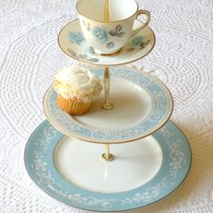 3-Tier Cupcake Stand of Vintage China