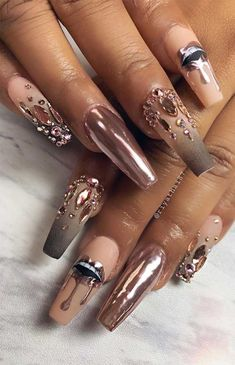 66 Pretty ways to wear mismatched nail colors & designs 33 - Hair and Beauty eye makeup Ideas To Try - Nail Art Design Ideas Nail Art Designs, Pretty Nail Designs, Colorful Nail Designs, Nail Polish Designs, Bling Nails, Swag Nails, Glitter Nails, Gradient Nails, Summer Acrylic Nails