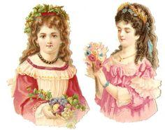 Victorian Die Cuts Paper Dolls Girls Flower Chromo Scraps