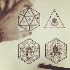 carolinevitelli:  Futhark, bee geometry, moon & fire amulets doodle ◇▽☄