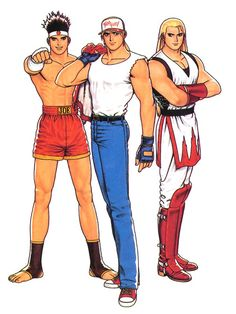 Fatal Fury team in King of Fighters Snk Games, Comic Games, Art Of Fighting, Fighting Games, Game Character, Character Design, Snk King Of Fighters, Hero World, Manga Anime