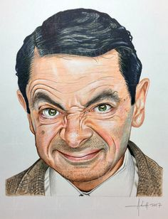 "ROWAN ATKINSON as Mr Bean Illustration © Adam Howard 2017 Medium is Color Pencil and acrylic paint on acid free Strathmore Drawing paper. Dimensions are 6"" wide by 8"" high #adamhowardart #rowanatkinson #mrbean #bean #british #england #genius #comedy #actor #movies #fourweddingsandafuneral #blackadder #johnnyenglish #thelionking #bond #neversayneveragain #notthenineoclocknews #television #hollywood #adamhoward #illustration #portraits"