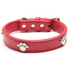 Leather Dog Collar with Paw Charm for Small Dogs Red 811 inches 30 cm * Be sure to check out this awesome product.Note:It is affiliate link to Amazon.