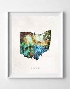 Ohio Map Columbus Poster Painting Watercolor by InkistPrints, $11.95 - Shipping Worldwide! [Click Photo for Details]