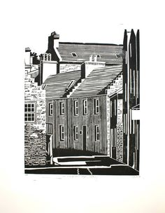 Original Linocut Proof Print - St Margaret's Hope, Orkney by Maria Doyle
