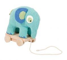 image of Pull Along Toy - Handmade Turquoise Crochet Elephant