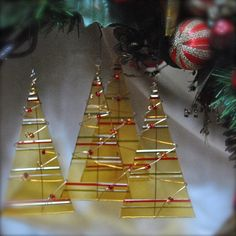 set of 4 light amber fused glass Christmas tree by VerreHibou, $40.00