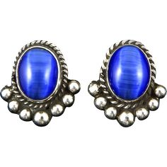 Blue Cat's Eye Glass and Sterling Silver Earrings. Vintage Jewelry under $25 at Ruby Lane @Ruby Lane