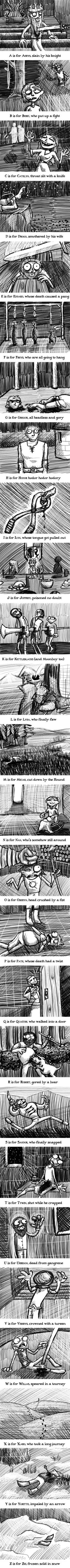 "POSSIBLE SPOILERS!! if you haven't read through book 5, you might want to give this Pin a miss. Game of Thrones a la E. Gorey's ""Gashlycrumb Tinies""."