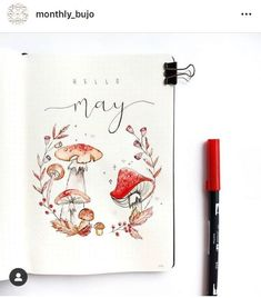 Mushrooms are fun bullet journal themes for the bujo addict who wants inspiration. Bullet Journal Cover Ideas, Bullet Journal Hacks, Bullet Journal Notebook, Bullet Journal Themes, Bullet Journal Spread, Journal Covers, Bullet Journal Inspiration, Journal Pages, Journal Ideas