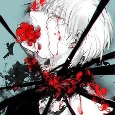 Look in the mirror, see what you've become. Are you happy? Only smile when you have a reason to. If you don't, then you're just lying to yourself. Manga Anime, Manga Art, Anime Art, Tokyo Ghoul Fan Art, Ken Kaneki Tokyo Ghoul, Kaneki Kun, Fanart, Dark Art, Illustration