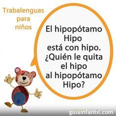 Trabalenguas con la H de Hipopótamo - Trabalenguas para niños con el oso Traposo