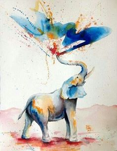 Watercolor elephant. mmmh. Want this painted right on my wall.