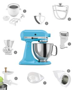 8 kitchen aid accessories  I want a kitchen aid with accessories.   Preferably red or this blue.