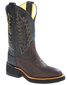 Old West Children's Black and Distressed Brown Round Toe Boots Westerns, Child And Child, Kids Boots, Old West, Mid Calf Boots, Western Wear, Cowboy Boots, Old Things, Fancy