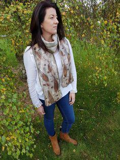 Eculyptus eco printed merino & silk scarf Fibre Art, Vest, Silk, Printed, Jackets, Fashion, Down Jackets, Moda, Fashion Styles
