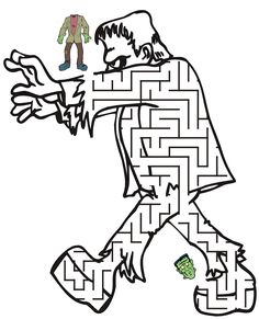 Free Halloween Frankenstein Maze Printable Coloring Pages Halloween Puzzles, Halloween Worksheets, Halloween Words, Halloween Drawings, Halloween Crafts For Kids, Halloween Pictures, Holidays Halloween, Halloween Decorations For Kids, Fine Motor