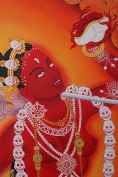 Divine-Buddha Vajra-yogini, painted by Ori Carino Tibetan Buddhism, Buddhist Art, Tibet Art, Esoteric Art, Asian Tattoos, Gautama Buddha, Sacred Feminine, Japanese Prints, Tantra