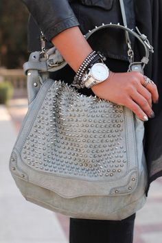 Rebecca Minkoff cross body shoulder bag with silver spike studs <3