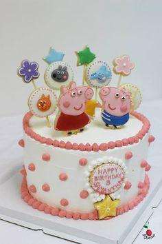 Peppa Pig Birthday Cake Choclate Angel Food Cake with Fresh Mangoes Icing Cookies Decoration