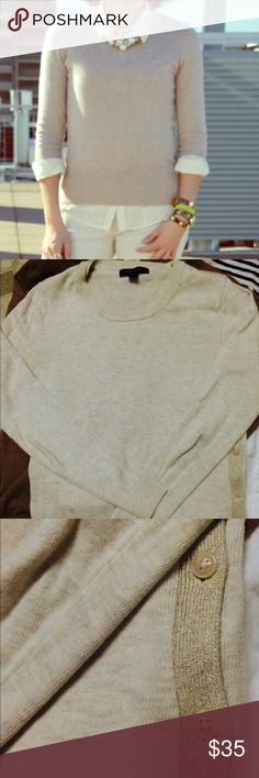 Banana Republic Cream Sweater Excellent used condition- Has shimmer side detail w/ buttons. Super cute! Banana Republic Tops Tees - Long Sleeve