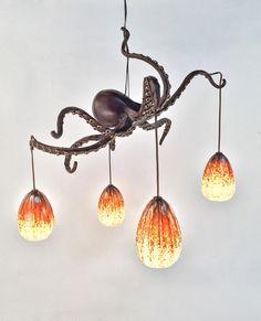Blacksmith, Forged, Custom, Design, Daniel Hopper Design, Iron, Steel, Bronze, Lighting, Chandelier, Octopus