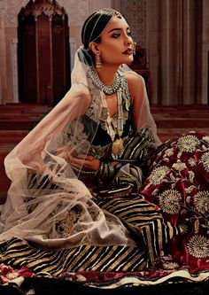 """"""" Lisa Haydon for Sahar Atif's bridal couture collection """" Mode Bollywood, Bollywood Fashion, Indian Bridal Fashion, Asian Fashion, Indian Dresses, Indian Outfits, Indian Aesthetic, Indian Photoshoot, Desi Clothes"""