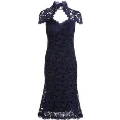 Marc Jacobs Navy Knit floral cutout cap sleeve scoop neck dress with capelet detail at collar and slip.